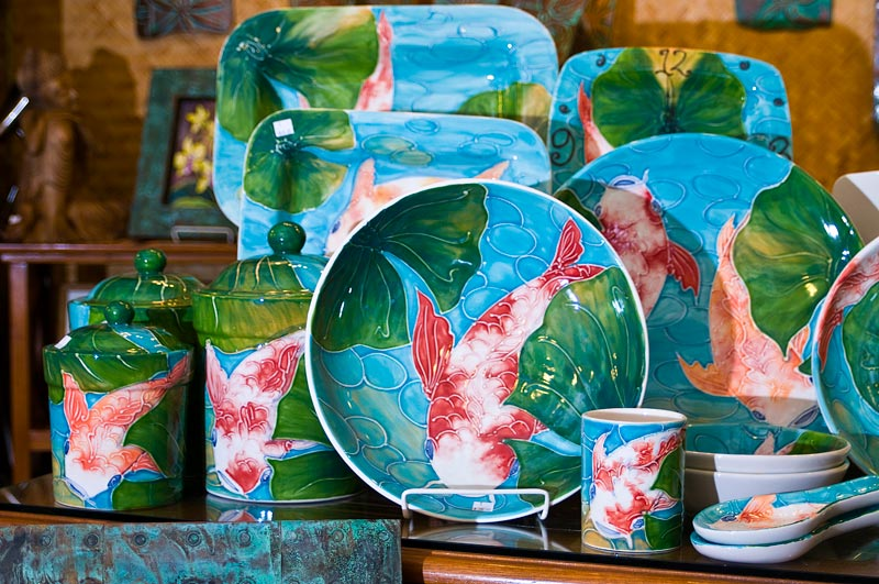 Ceramics with Koi fish.