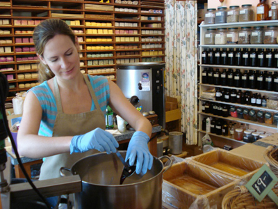 Heather making soap