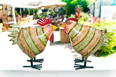 A rooster and Hen with decorative stripes