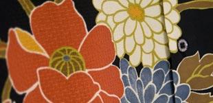 A detail of the stitchwork and texture on a Tori Richard Hawaiian shirt.