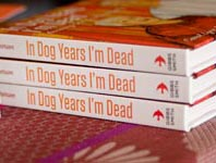 The spine of the book, In Dog Years I'm Dead.