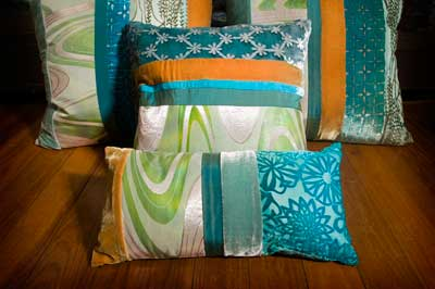 An assortment of pillows by Kevin O'Brien Studio
