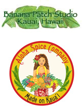 Logos for Banana Patch Studios and Aloha Spice Company