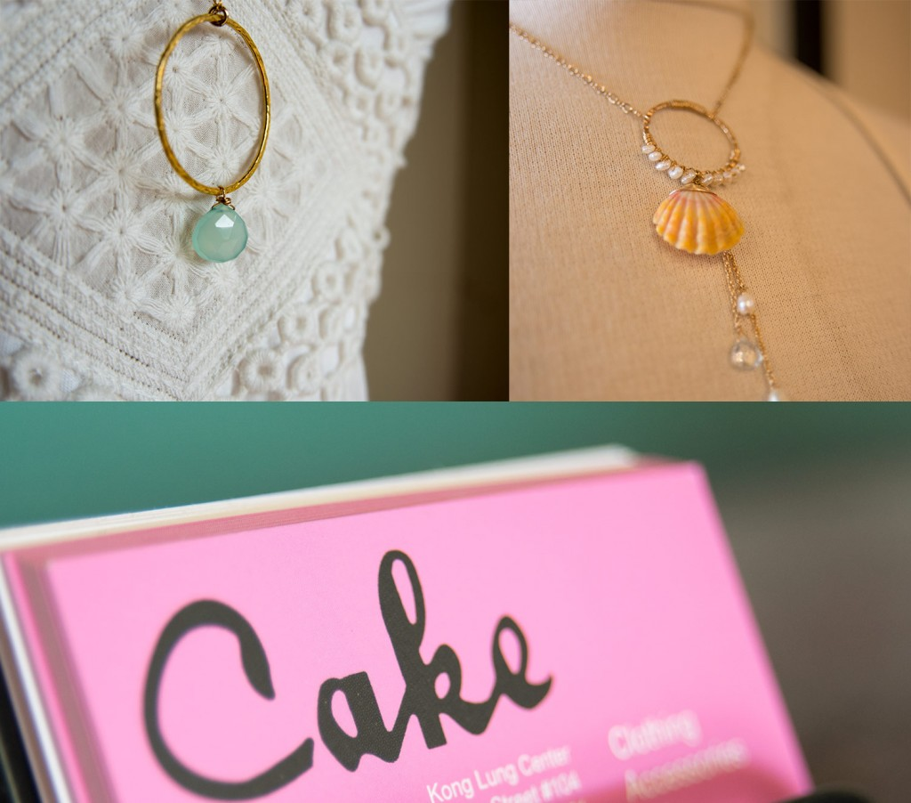 Necklace details and Cake business card detail.