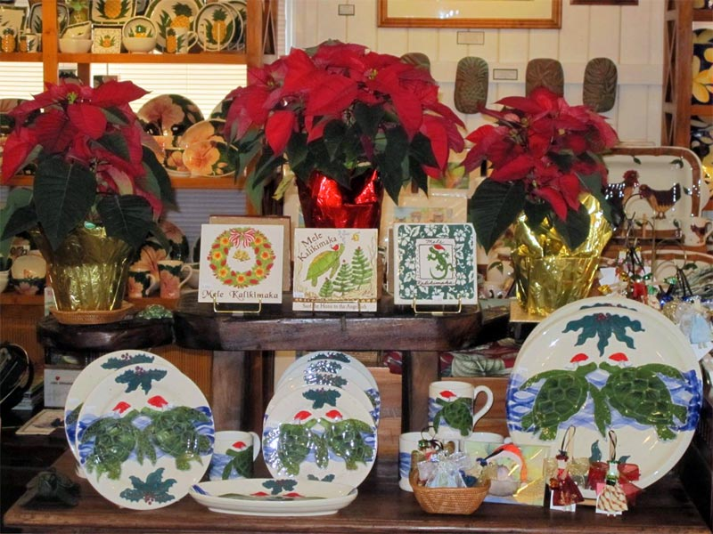 Hand Painted Ceramics with Honu turtles and Mele Kalikimaka