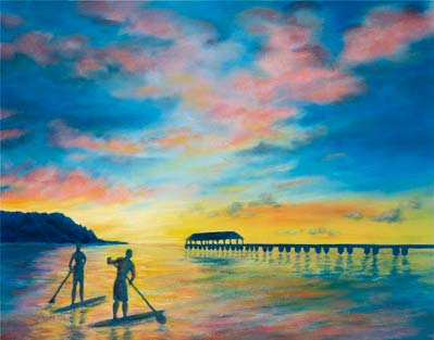 "Joanna Carolan captures the beauty of the North Shore ""Days End at Hanalei Pier."" Paddlers venture along the Hanalei Pier."