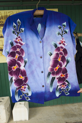 Another beautiful hand painted aloha shirt, in a Tea-time style for the ladies
