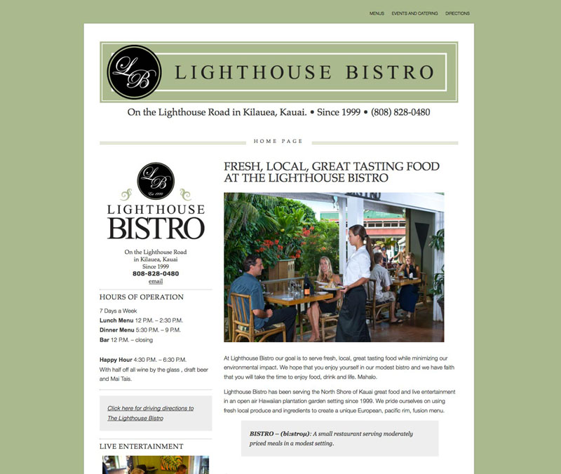 Lighthouse Bistro's new web site