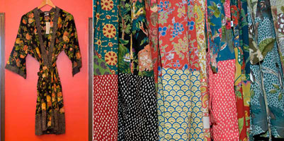 Modern prints on traditional kimonos