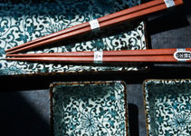 The beautiful Lotus Pattern on the porcelain sushi set, includes chopsticks