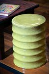 Bamboo Stool with Yellow green glaze.