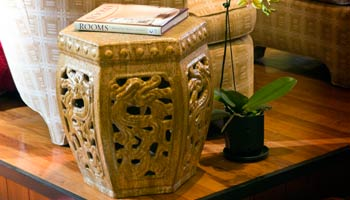 The dragon stool as an end table