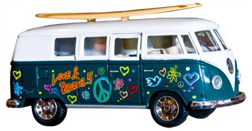 Toy VW Bus with surfboard by Schylling