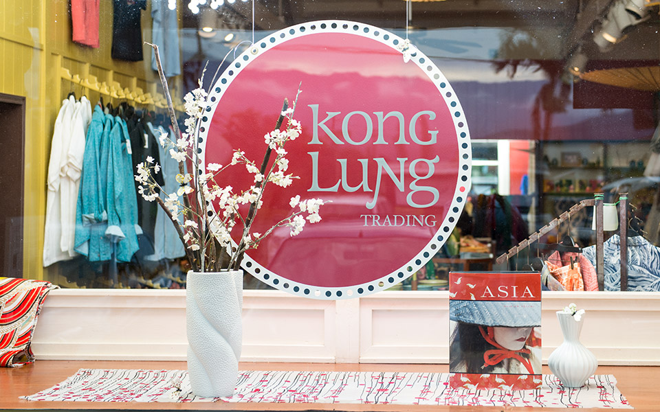 Window display for Kong Lung Trading in Kilauea, Kauai.