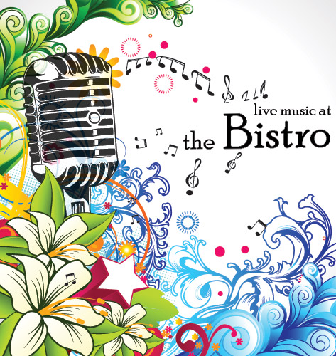 Live Music at the Bistro: microphone and colorful floral
