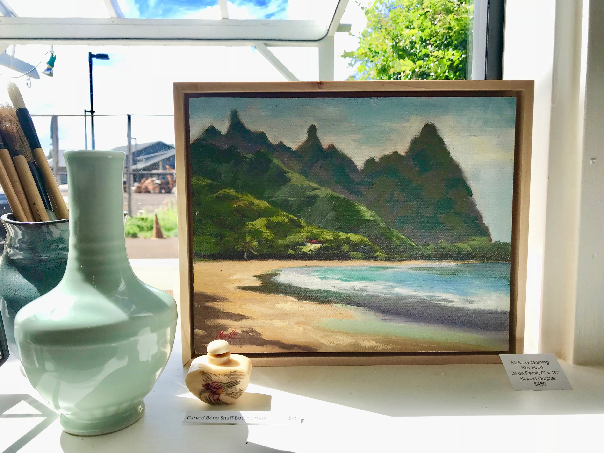 Painting of Hanalei and ceramic vase